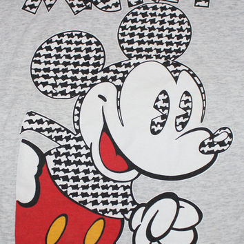 80's Vintage Pie-Eyed Disney Mickey Mouse XL Heather Gray T-Shirt Tee Made in USA