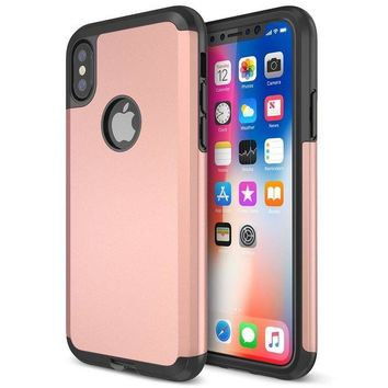 DCCKV2S Trianium Protanium iPhone X Case with Reinforced Corner Cushion TPU Bumper / Rigid Hard Back Panel / Heavy Duty Drop Protection / Scratch Resistant Cover For Apple iPhone X /10 Phone (2017)-Rose Gold