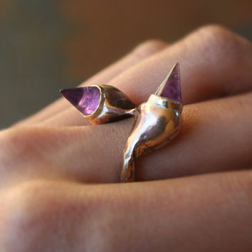 Cool Unique Edgy Punk Rock High Fashion Runway Pointy Amethyst Bronze Band and Gold Bezel Ring One of A Kind
