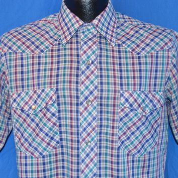 90s Wrangler Rainbow Plaid Pearl Snap shirt Medium