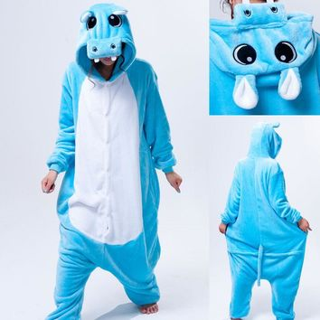 HKSNG Blue Grey Gray Pink Hippo Animal Footed Unisex Adult Christmas Party Pajamas Flannel Pyjamas Onesuits Cosplay Kiguruma