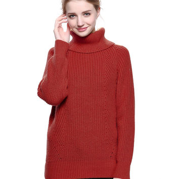 Red Roll Neck Split Side Dipped Rib Knitted Sweater