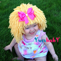 Baby Hat- Blonde Wig Hat- Ready to Ship- Girl Wig- Halloween Costume Girls- Princess Costume- Yellow Wig- Baby Costume-  Girl Photo Prop