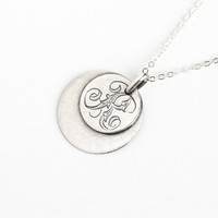 """Antique Silver Monogrammed """"K"""" Love Token Coin Pendant Necklace - Vintage Late 1800s Victorian Letter Initial Embossed Jewelry"""