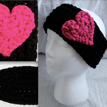PERFECT FOR VALENTINE'S Day Crochet black medium Headband Ear warmer with red or pink heart
