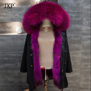 2017 New Real Large Raccoon Fur collar Winter Green /Black Jacket Coat Women Thicken Warm Lady Parkas Female Jacket