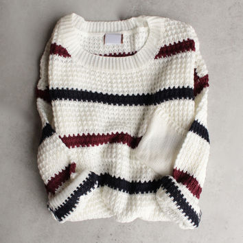 chunky oversized stripe knit boyfriend sweater in ivory
