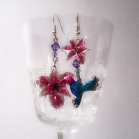 Polymer clay mismatched earrings  The hummingbird and by UraniaArt