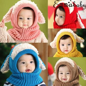 Kids Winter Beanie Warm Hat Hooded Scarf Earflap Knitted Baby Toddler Cap