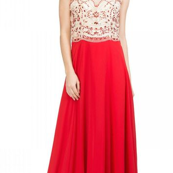 Illusion Sweetheart Neckline Beaded Long Prom Dress Red
