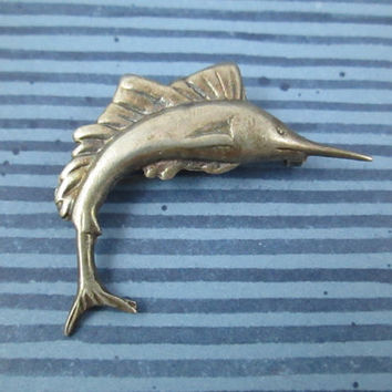 Vintage Sterling Silver Swordfish Marlin Pin Brooch Old C Clasp Wear on Hat Wear Sailing or Around the Beach Ocean Nautical Fishing