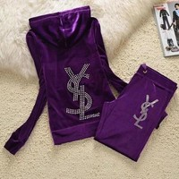 YSL Autumn Winter Fashionable Women Velvet Long Sleeve Hoodie Sport Sweater Coat Pants Trousers Set Two-Piece Purple