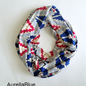 Blue Aztec Infinity Scarf, Jersey scarf, Fashion Accessory