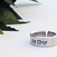 Personalized Initial Ring - Personalized Ring - Custom Initial Ring - Handstamped Ring - Name Ring -Mothers Ring Adjustable Ring Silver Ring