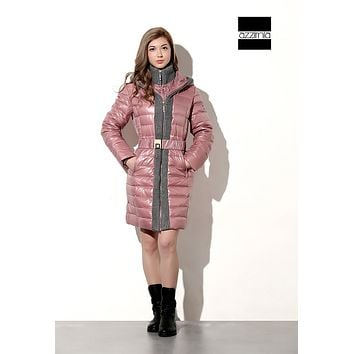 azzimia 2015 Fashion style Winter duck down jacket Women long coat parkas with Hat Female Warm dress High Quality