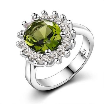 Flower Silver Rings With Natural Peridot Stones Shining Luxury Wedding Jewelry Rings Engagement For Women 925 Ring On Sale
