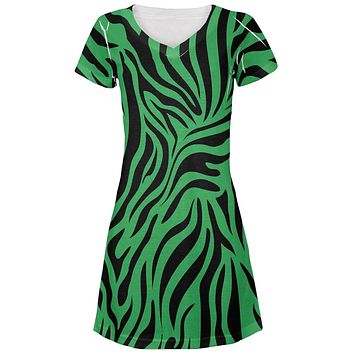 Zebra Print Green Juniors V-Neck Beach Cover-Up Dress
