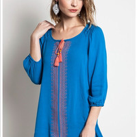 Coral & Teal Tunic
