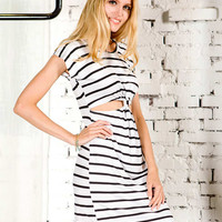 Monochrome Stripe Open Belly Dress