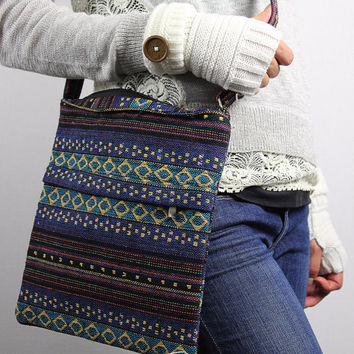 Bohemian Aztec Bag Tribal Cross Body Bag Mexican Blanket Bag Navy and Gray Tribal Bag with zipper closure gift for her