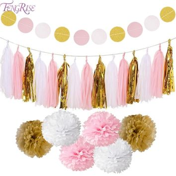 FENGRISE Circle Garland Tissue Paper Pompom Wedding Decoration for Home Birthday Party Kids Favors Boy Girl Baby Shower Supplies