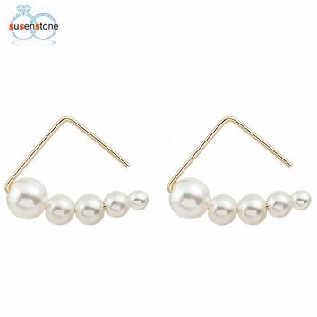 SUSENSTONE Minimalist pearl Earrings Geometric Retro Triangle Earrings Stud Earrings
