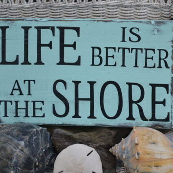 Beach Shore Coastal Nautical Decor Wood Sign by CarovaBeachCrafts