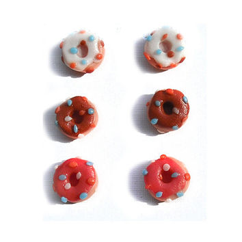 Donuts frosted stud earrings hypoallergenic for sensitive ears modeled by hand in cold porcelain