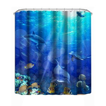 3D Underwater World Dolphin Shower Curtain With C Hooks Bathroom Products Waterproof Bath Shower Home textiles 180X180cm