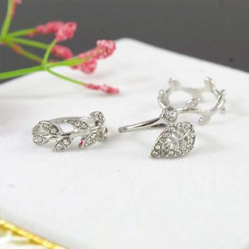Cute Sweet Style Crystal Rhinestone 3pcs\set Leaf Crown Cross Midi Knuckle Finger Joint Rings women