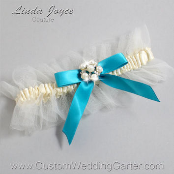 "Ivory and Turquoise Tulle Wedding Garter Bridal Garter ""Natalie"" Silver 871 Ivory 344 Tornado Blue Prom Luxury Garter Plus Size & Queen Size"