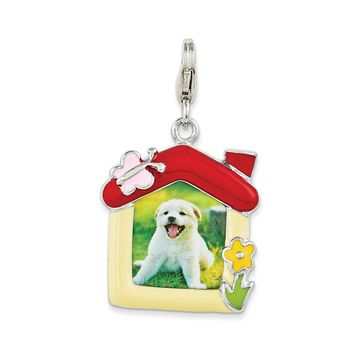 Sterling Silver Enameled Pet Picture Frame w/Lobster Clasp Charm QCC1054
