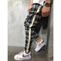 Men's Street Style Checkered Sweatpants Side Stripes 4373