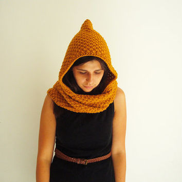 Hand knit hooded scarf - mustard yellow scarf with a hood - chunky scoodie - women winter accessory