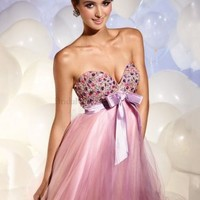 Sweetheart A-line Pearl Pink Bow Beading Tulle Short/Mini Dress - Wedding Dresses Canada Online