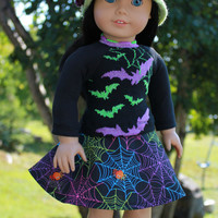 Halloween print shirt Halloween print skater skirt, circle skirt, crochet hat with flower, American Girl, 18 inch doll clothes