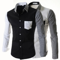 Check Sleeve Color Contrast Slim Fit Men Dress Shirt