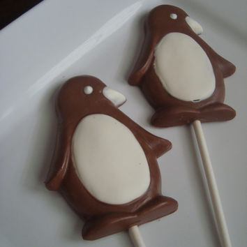12 Chocolate Penguins Caramel Lollipop Birthday Party Favors Animal