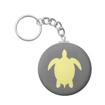 Yellow and Gray Summer Sea Turtle Basic Round Button Keychain