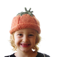 Pumpkin Hat - Soft Hand Knit - Child to Adult Sized - Made to Order