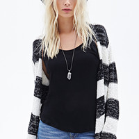 FOREVER 21 Striped Open-Front Cardigan