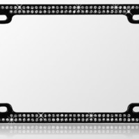 Black Chrome Metal Car License Plate Frame with Double Row Clear Crystals