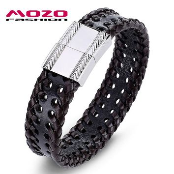 MOZO FASHION Jewelry Men Bracelet Leather Large square buckle Bracelets & Bangles Bracelets for man Brown arm cuff bangle PS2042