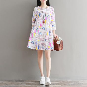 Lovely Print Long Sleeve Mini Dress Women Round Neck Cotton Linen Young Girl Casual Autumn Spring New Clothes