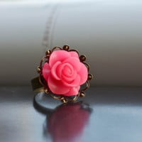 Flower Ring  Gorgeous Adjustable Resin Flower Ring 1 pc with 5 Colors to Choose for