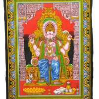 Indian Wall Tapestry Hippy Ganesha Unframed wall painting Hippie Wall Hanging 33