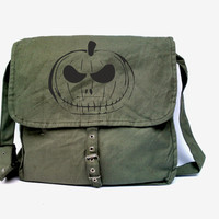 Halloween bag crossbody canvas bag trick or treat bag messenger canvas bag vintage army green cotton bag vintage pumpkin shoulder bag