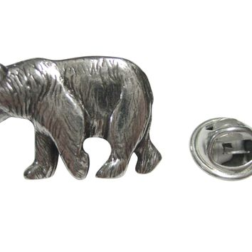 Silver Toned Walking Bear Lapel Pin