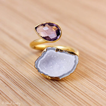 Gold Purple Amethyst And Druzy Ring - Double Stone Adjustable Ring - Choose Your Favorite Stone