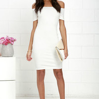 Me Oh My Ivory Off-the-Shoulder Bodycon Dress